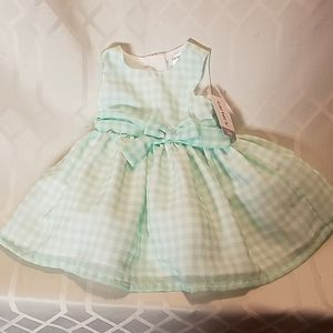 Carter's green and white polyester dress infant 3m